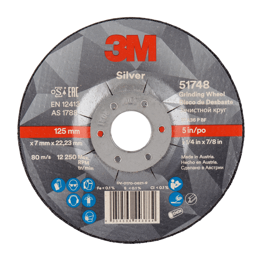 3 M Silver Depressed Centre Grinding Wheel