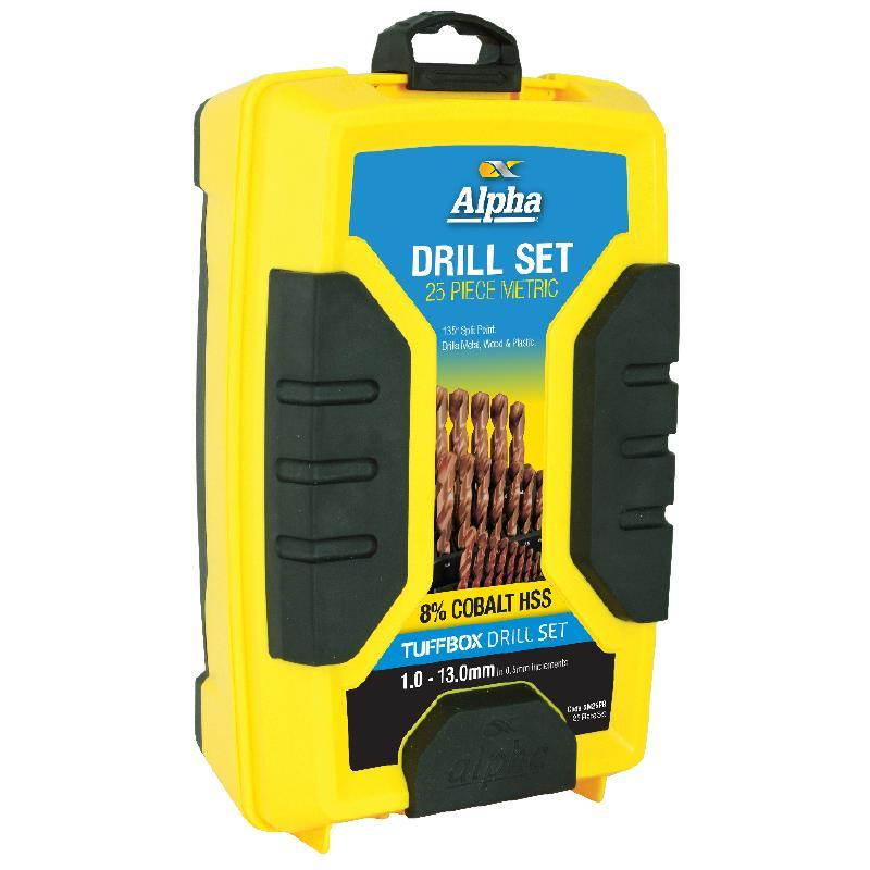 Alpha 25 Piece Tuffbox Metric Drill Set