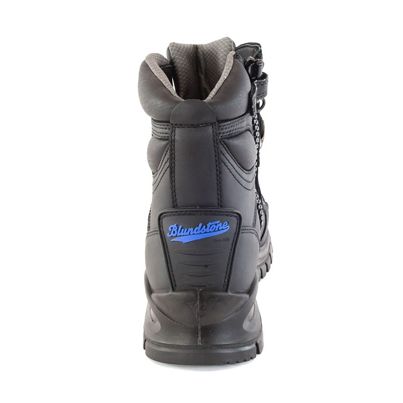Blundstone Zip Side Safety Boot Black Back