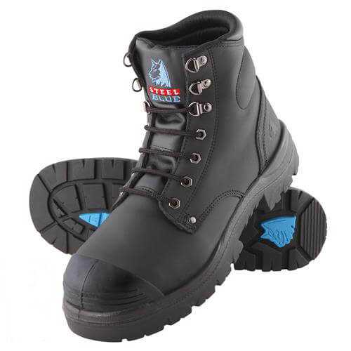 Steel Blue Argyle Lace Up  Safety Boot With Bump Cap Black