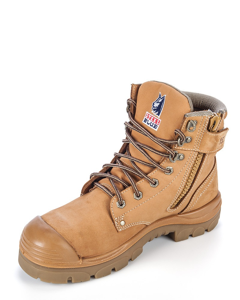 Steel Blue Argyle Zip Side Safety Boot With Bump Cap Front Wheat
