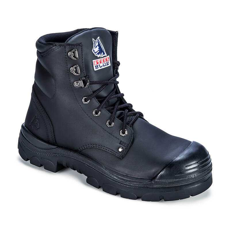 Steel Blue Argyle Zip Side Safety Boot With Bump Cap Side Lean Black