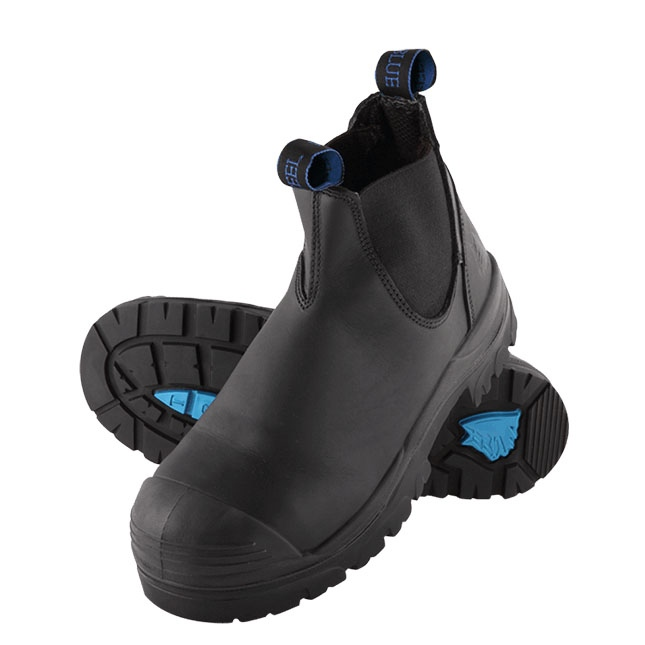 Steel Blue Hobart Elastic Side Safety Boot With Bump Cap Black