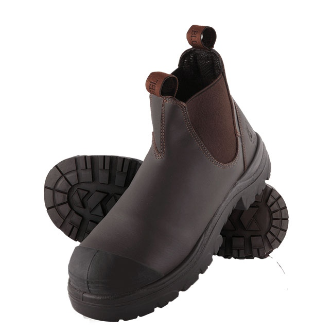 Steel Blue Hobart Elastic Side Safety Boot With Bump Cap Brown