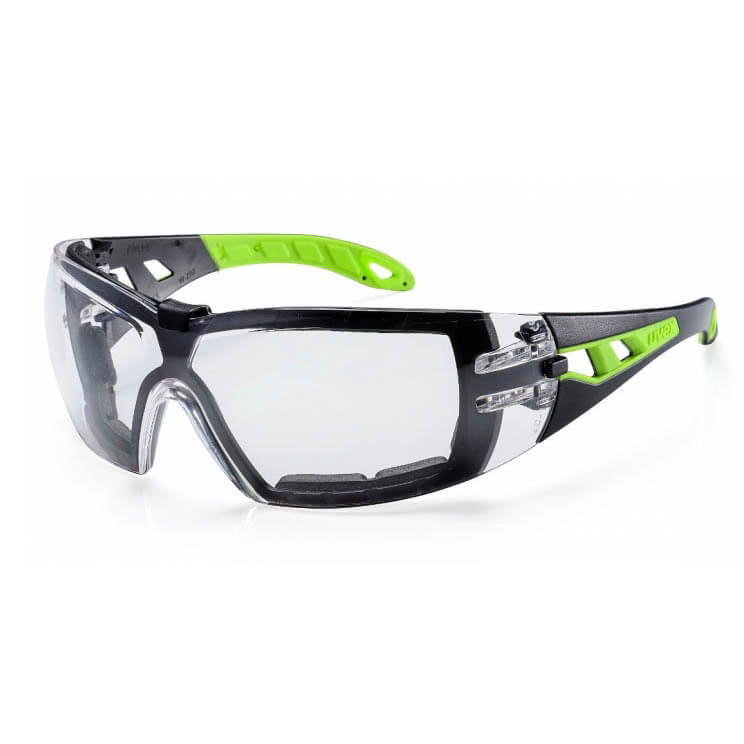 Uvex Pheos Saferty Glasses Foam Guard Clear Green