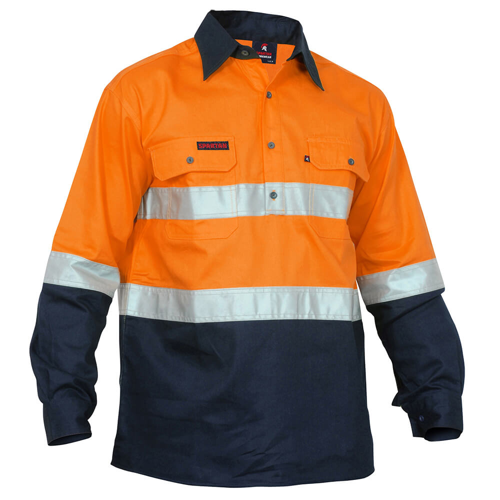 Xax Retrodril Hi Vis Long Sleeve Taped Orange